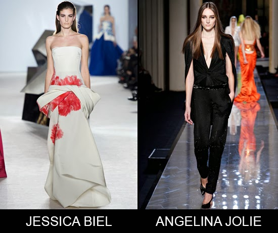 Jessica Biel in Giambattista Valli and Angelina Jolie in Versace Oscar 2014 red carpet predictions