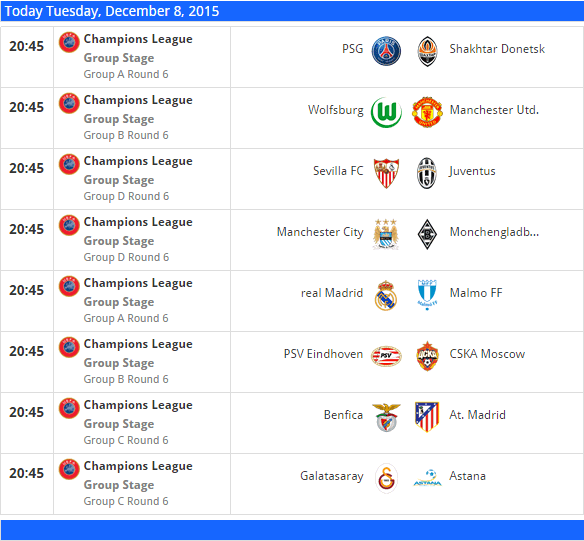uefa cup matches today
