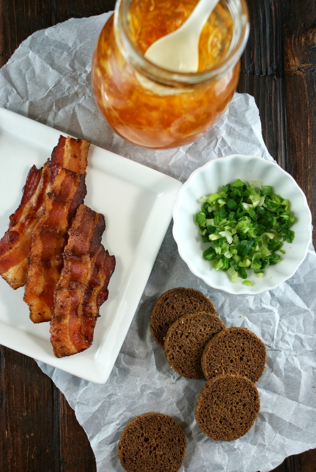 Authentic suburban gourmet bacon and orange marmalade for Canape wines
