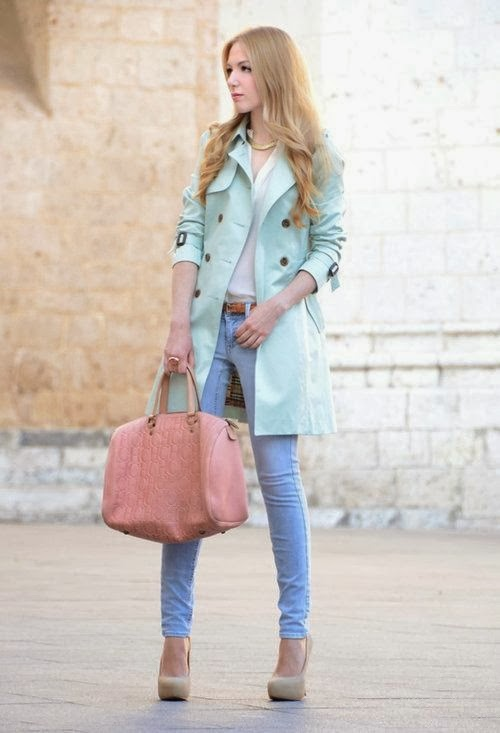 Mint Color Coat With Sky Blue Jeans,Baby Pink Hand Bag And Nude Heel