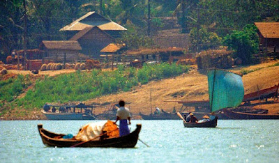The Irrawaddy river around Mogok north of Mandalay