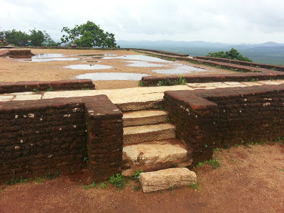 Sigiriya summit, top pyramid platform, leading marble stairs, gods, descends from heaven to Earth, ancient mysteries