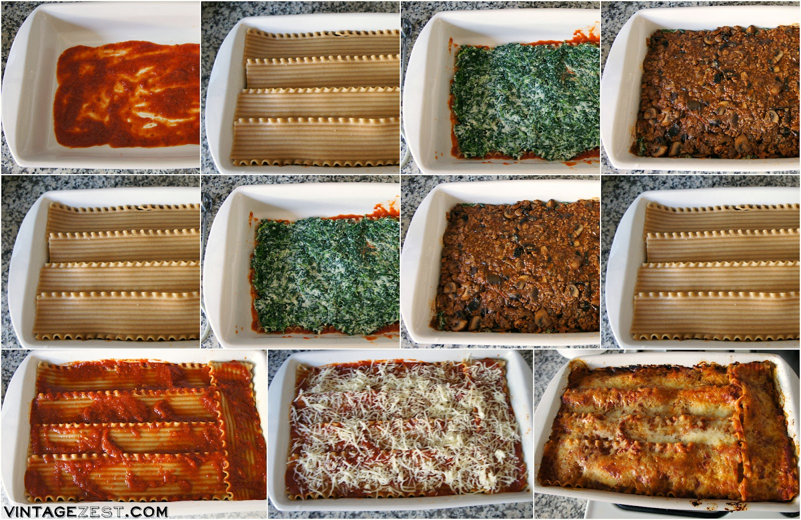 Vegetarian Lasagna with Spinach, Mushrooms & Soy Crumbles #soyswaps