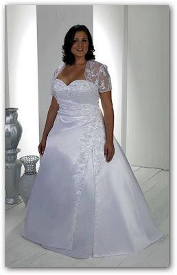 Vestido blanco de boda para gorditas con torera de encaje