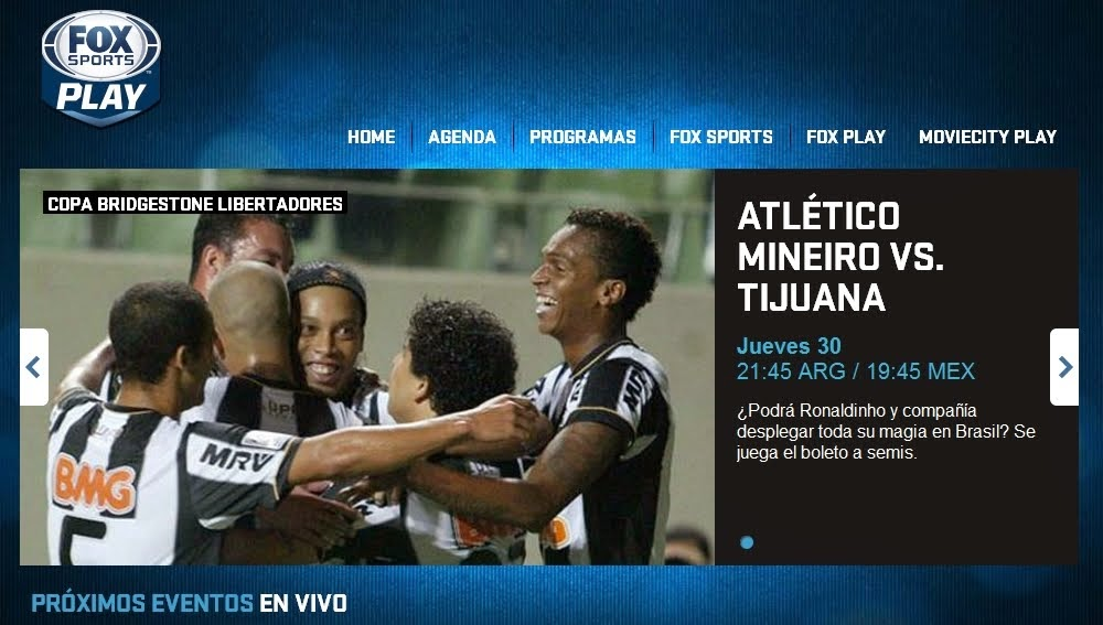 Fox Sports Play - Fútbol en Vivo online - UEFA Champions League - Copa Bridgestone Libertadores
