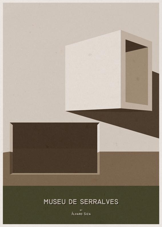 Museu de Serralves - Alvaro Siza Vieira - Posters de Arquitectura Minimalistas de André Chiote