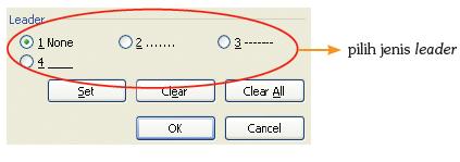 Pengaturan leader melalui dialog box Tabs.