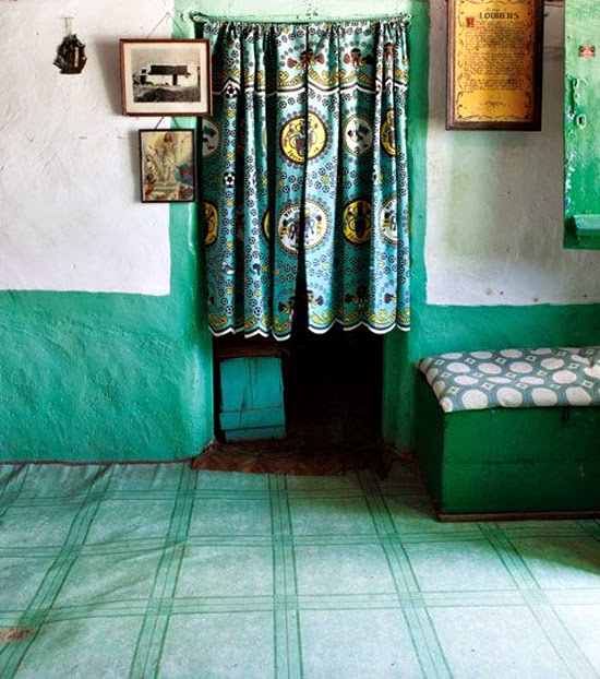 Safari Fusion blog | African green | Simple colourful style of a fisherman's cottagePaternoster, South Africa via Afroklectic