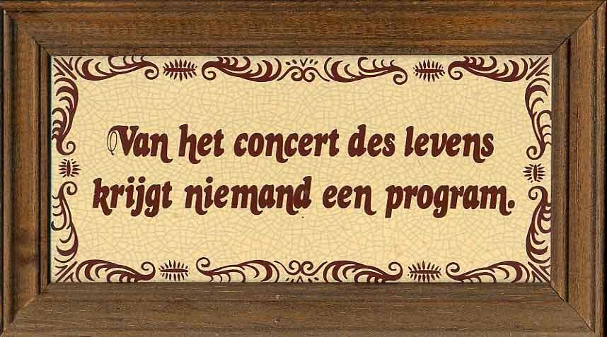 Van het concert des levens krijgt niemand een program