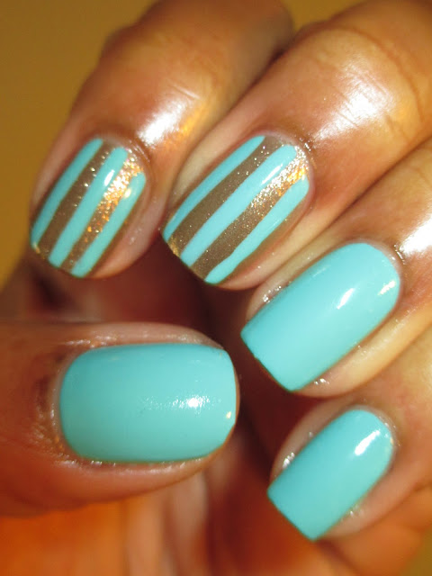 JLB, Mint Candy, Gold Dust, mint, gold, bronze, stripes, nails, nail design, nail art, mani