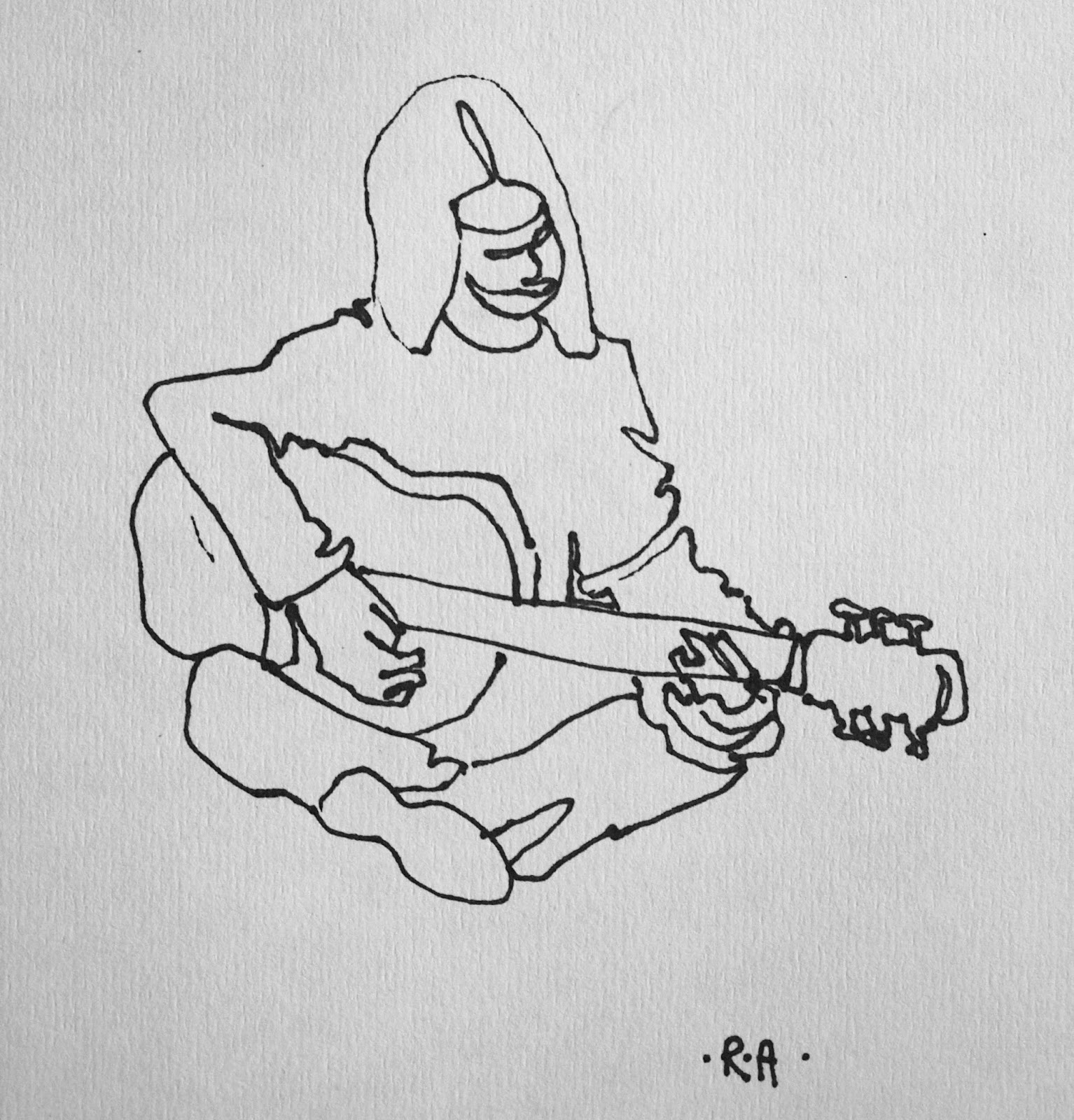 Contour Line Drawing Guitar : Artiqueryrose june