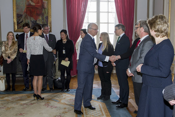 King Carl XVI Gustaf of Sweden and Crown Princess Victoria of Sweden attended a foreign relations committee meeting at the Royal Palace on April 15, 2015 in Stockholm, Sweden.