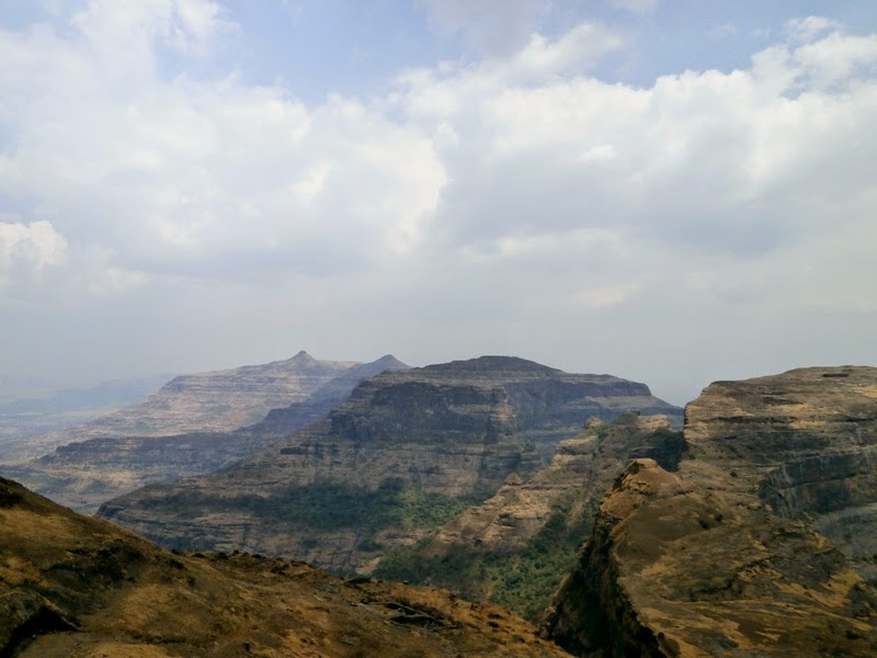 Kalsubai, Sakira, Kirda & Alang peaks on the left hand side from Madan's summit