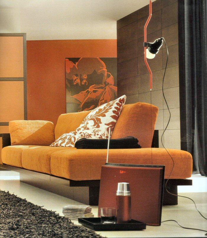 Marrón y Naranja en Salas  Ideas para decorar, diseñar y mejorar tu