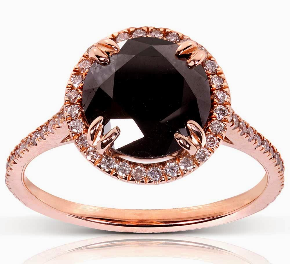 Big Black Diamond Pink Wedding Rings for Women Model pictures hd
