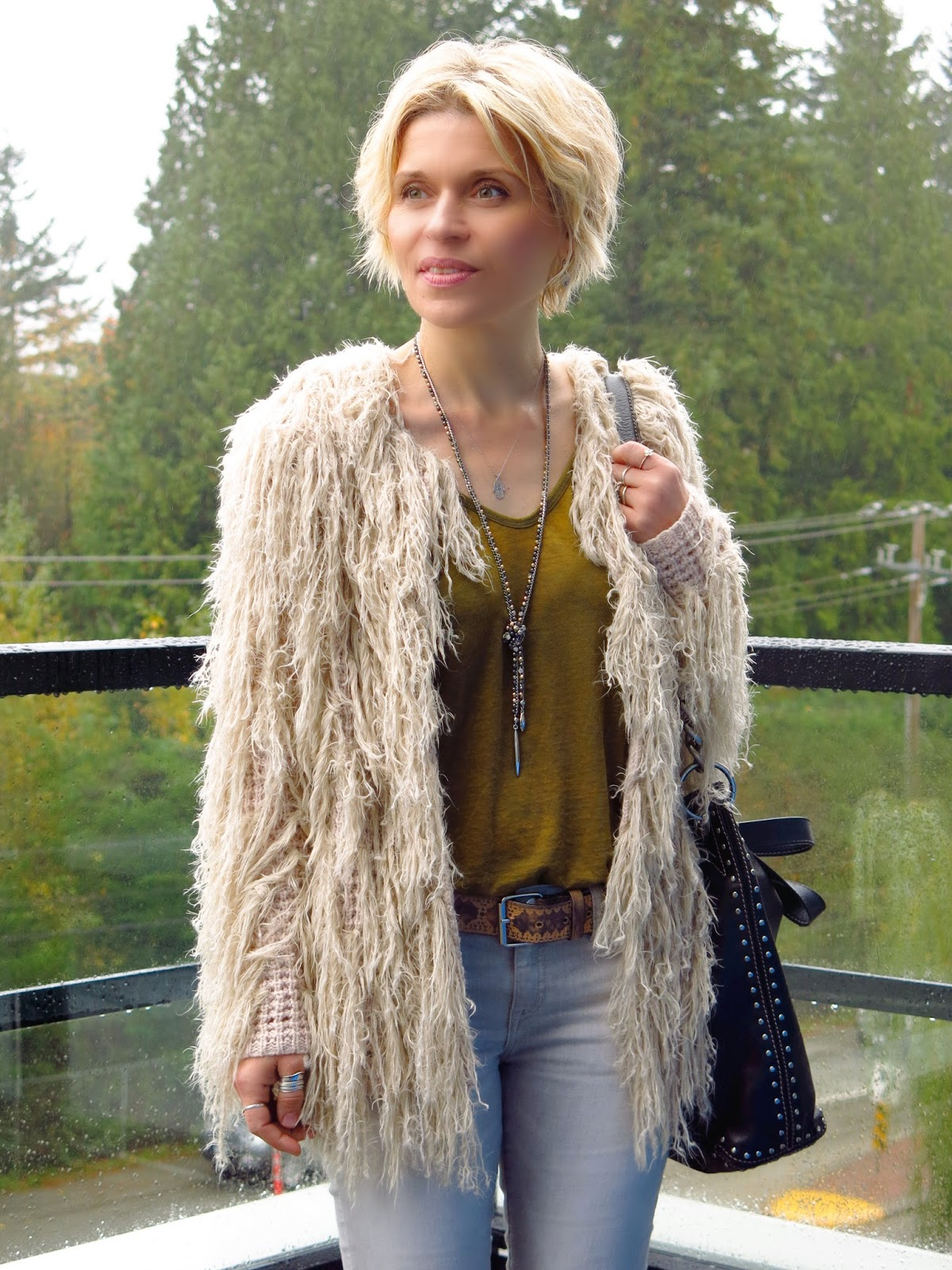 Free People fringy cardigan, Stella & Dot lariat necklace, Michael Kors bag