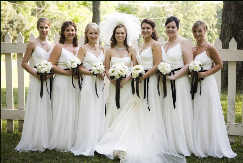 Power To Personalize Your Wedding Wedding Trend WHITE Bridesmaid Dresses