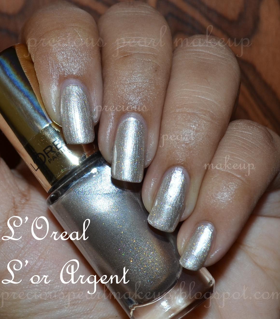preciouspearlmakeup: L\'Oreal Color Riche Nail Lacquer L\'or Argent