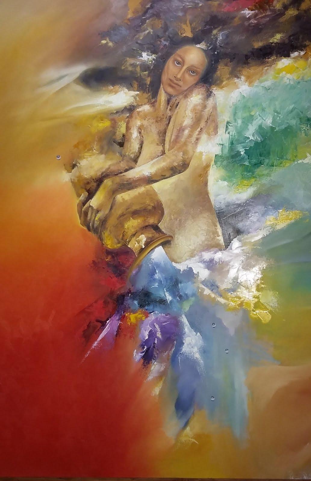 Solange Alves, A Mulher e o Cântaro, Óleo sobre tela, 110x140cm