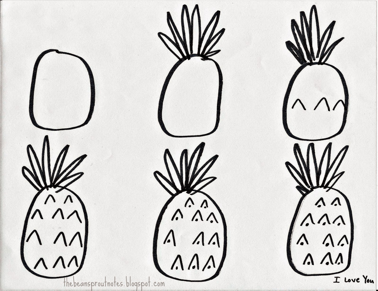 the bean sprout notes how to draw a pineapple a step by step guide