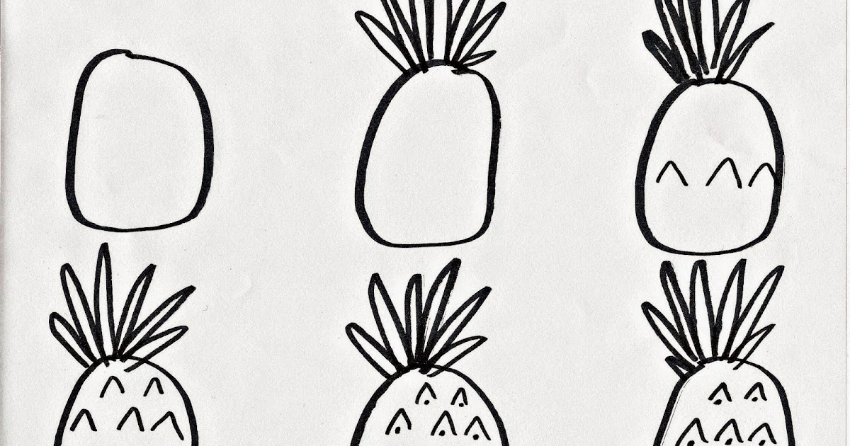pineapple drawing step by step. the bean sprout notes: how to draw a pineapple: step by guide for kids pineapple drawing
