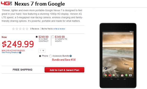 Nexus 7 tablet (2013) available on Verizon Wireless
