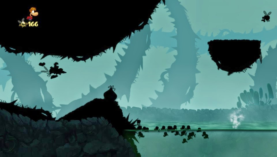 Rayman Origins silhouetted level flying on mosquito