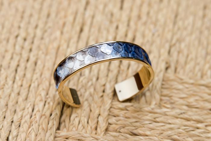 Python Bracelet 39 Multi  Blu Python color MEMAN Cuff by STAMERRA