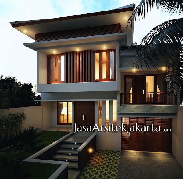 Desain Rumah 2 lantai Pak Iwan luas 300m2