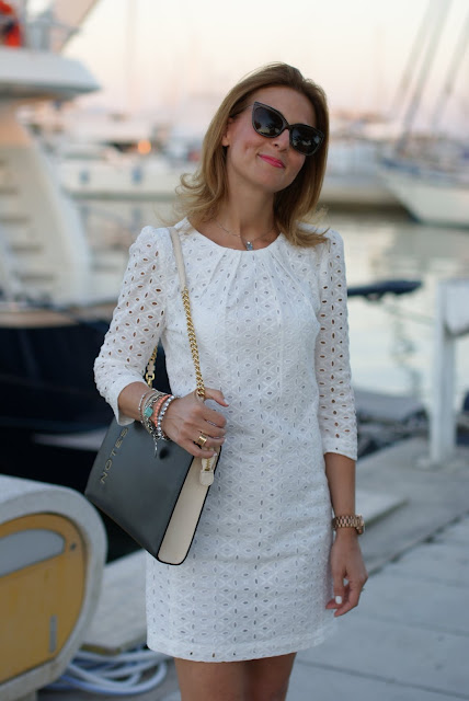 white sangallo lace dress, summer look, white lace mini dress, Mango dress, Moschino notes bag, Fashion and Cookies