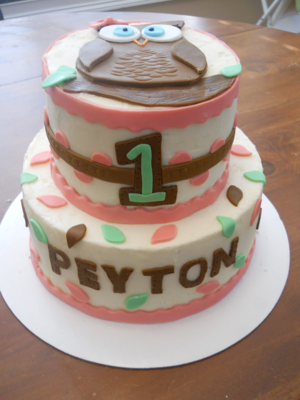 The Happy Caker Peytons 1st Birthday Owl Cake
