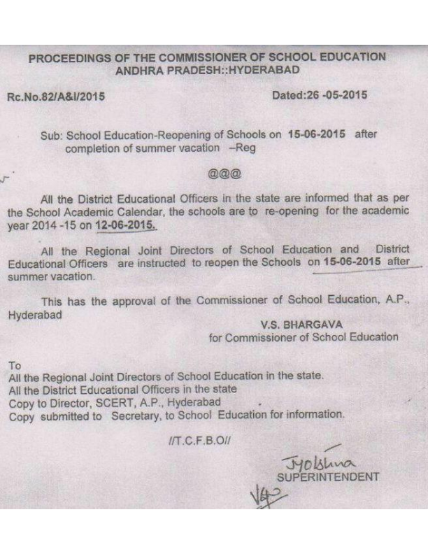 Rc.82 AP Schools Reopen Date on 15th June 2015 -AP Schools Starting Date,Rc.82/A&I/2015 Dated 26/5/2015 AP Schools reopen on 15th June after summer vacation in 2015, Reopening of Schools in AP in 2015