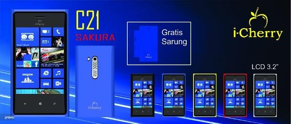 iCherry C21 Sakura, Handphone Dual SIM Mirip Lumia 920