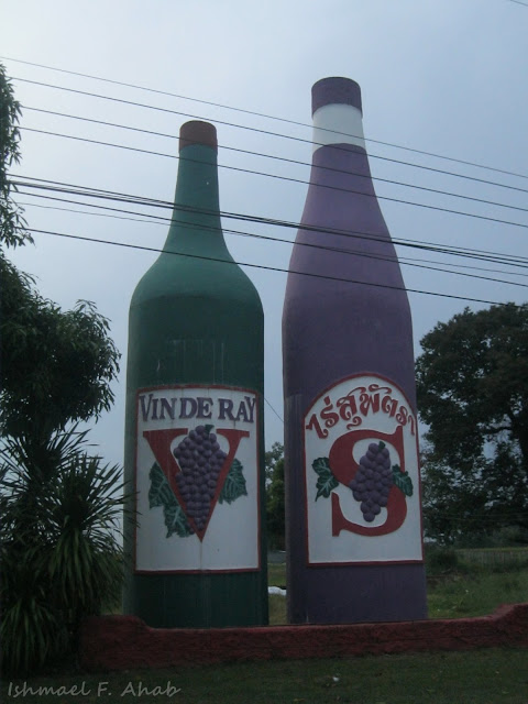 Giant bottles at Vin de Ray winery, Thailand