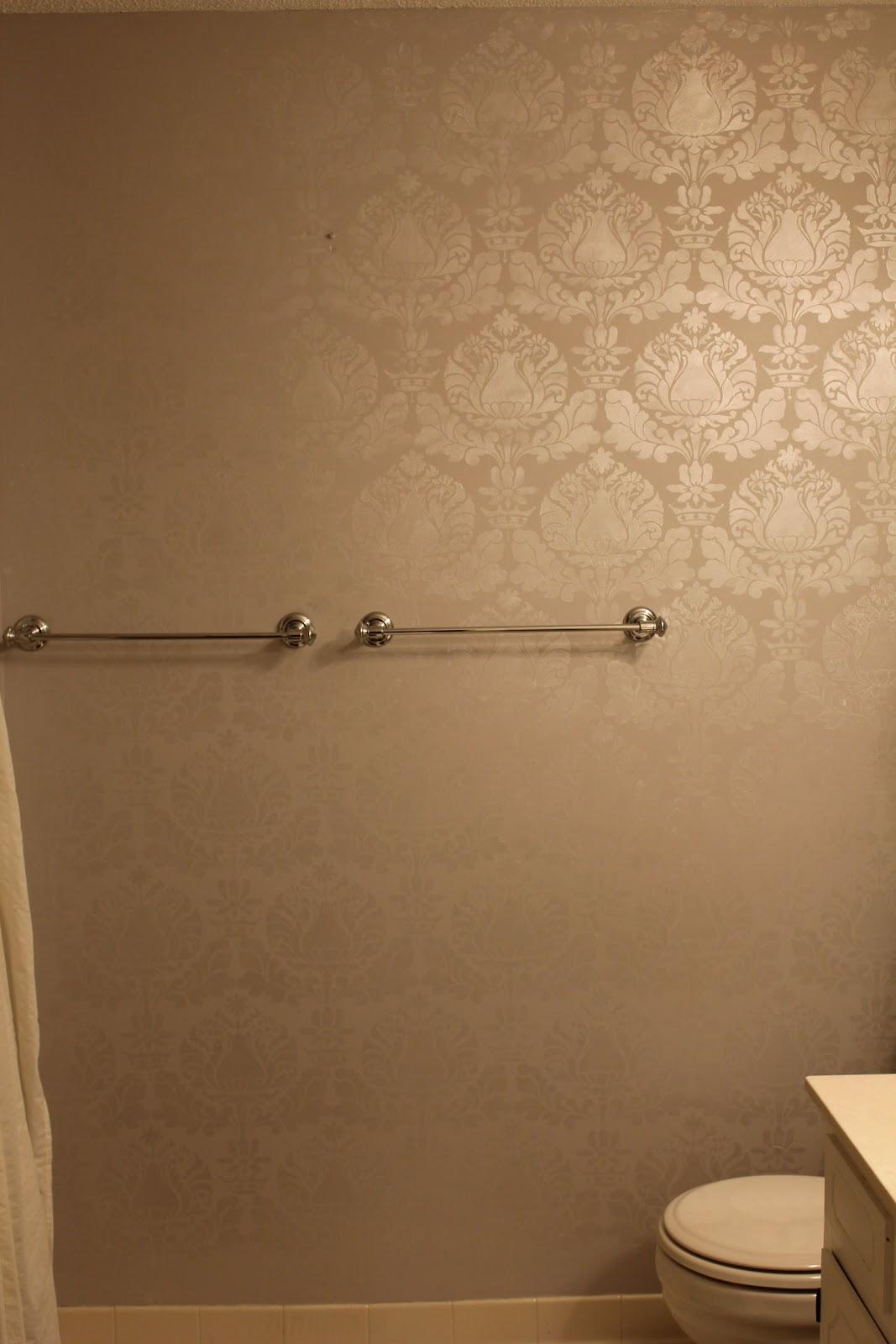 PeaHen Pad Guest Bathroom wall stencil