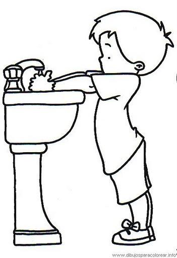 Portal escuela colorear un ni o lav ndose las manos - Ninos pintando con las manos ...