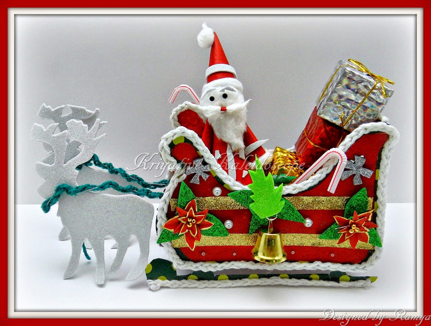 Santa sleigh ornament - So I Made A Santa Sleigh With Santa Claus Reindeer And Gifts To Make It Look More Merrier I Added Two Christmas Trees On The Sides