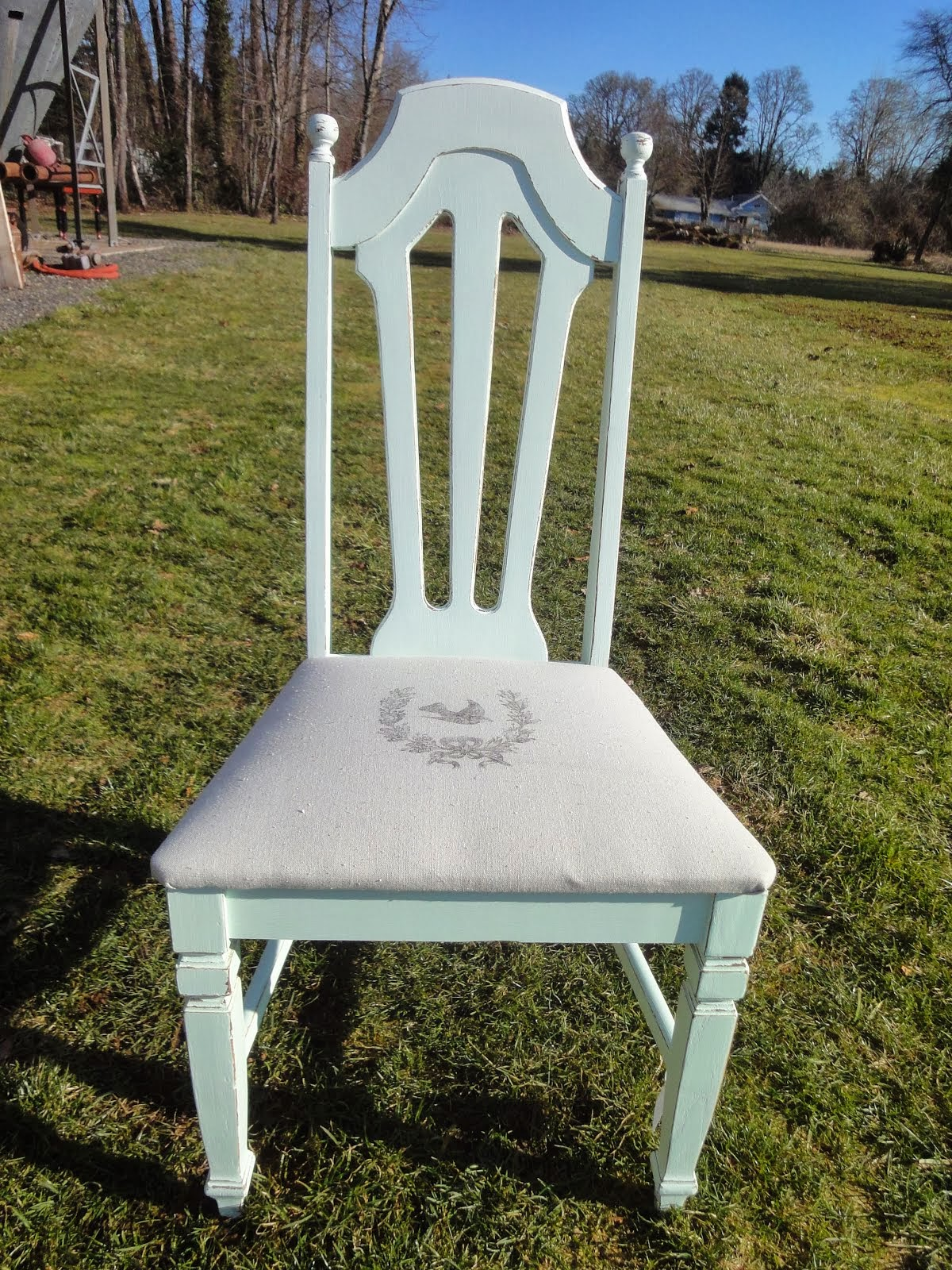 DISTRESSED CHAIR PAINTING AND SEAT UPHOLSTERY