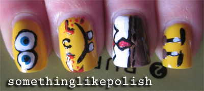 spongebob squarepants nail art