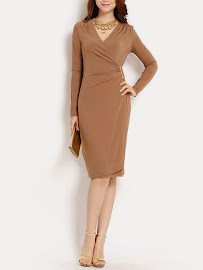 Elegant Camel Brown Long-Sleeved Side Gold Buckle Dress