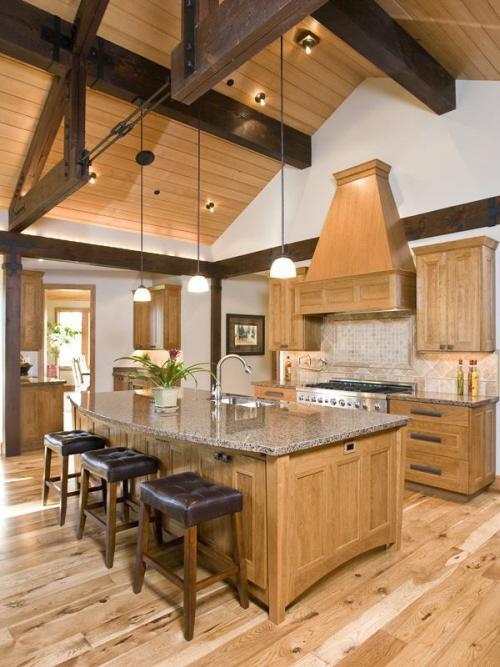 Decora o de casas uma linda cozinha de 39 madeira 39 - Casas rusticas por dentro ...