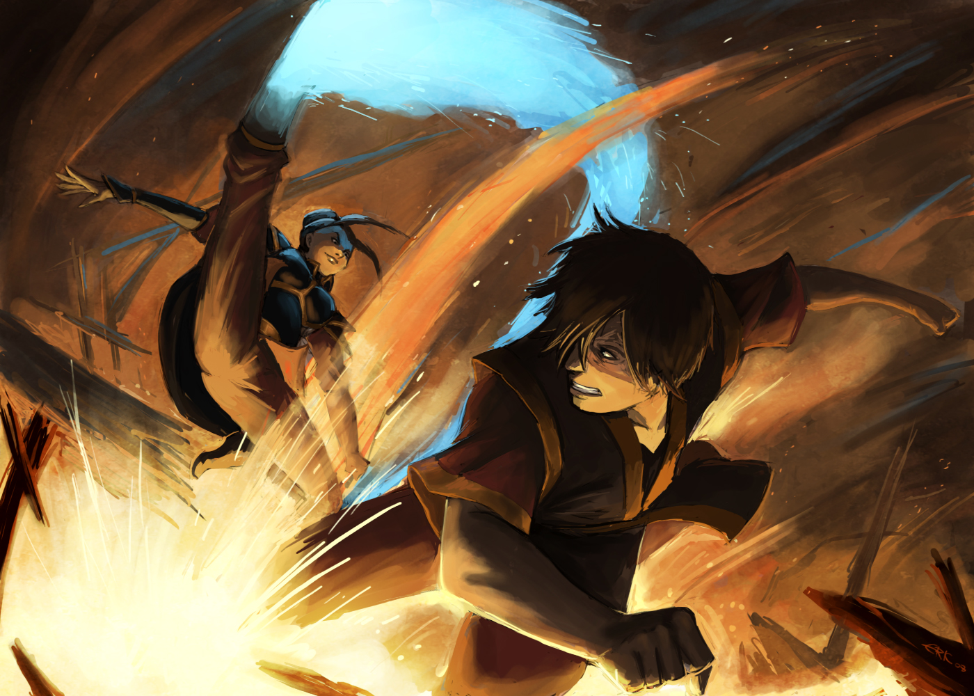 zuko vs azula b7 hd wallpaper