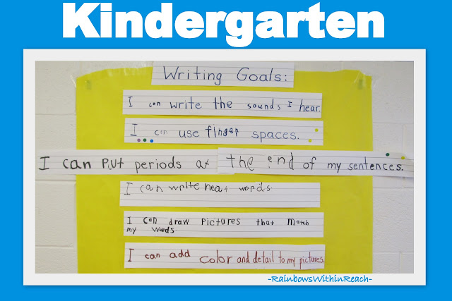 photo of: Bulletin Board of Kindergarten Writing Goals (from Bulletin Board RoundUP via RainbowsWithinReach)