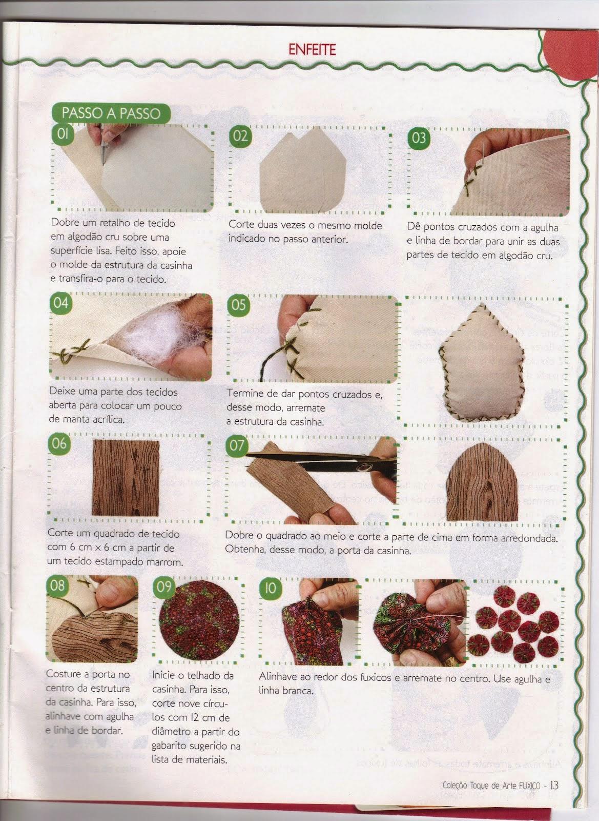 Casinha de tecido passo a passo e moldes