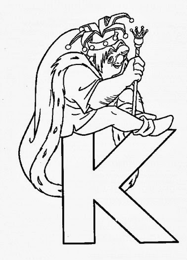 Printable Alphabet Coloring Pages King