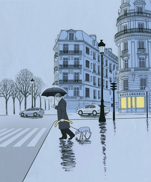 23-Paris-Blues-Guy Billout-Reality-Irony-Anxieties-Humour-condensed-in-Illustrations-www-designstack-co