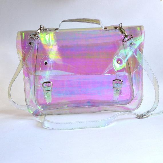Large bag Number 3 Holographic Vinyl Plastic Satchel crossbody strap (Handmade to order)