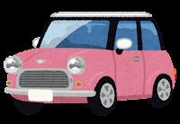 コンパクトカーのイラスト(ピンク)