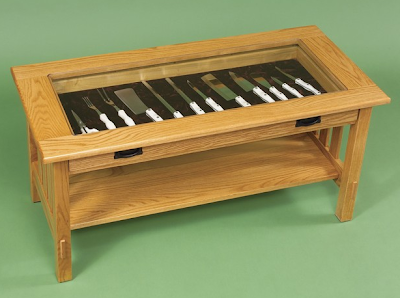 Mission-style curio coffee table with knife display