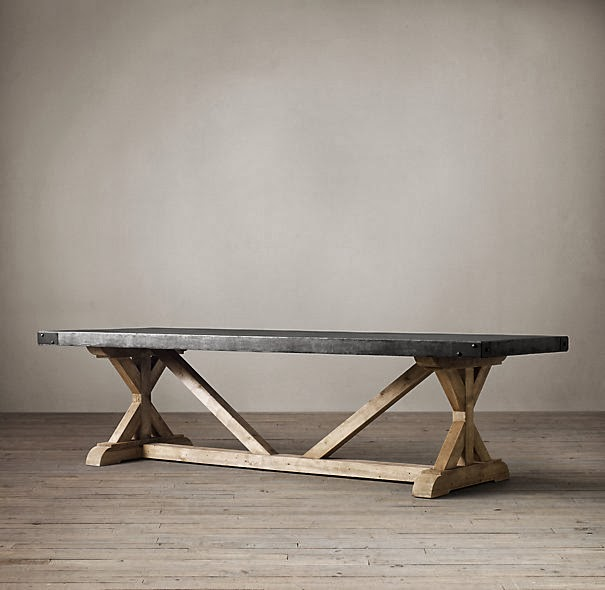 Restoration Hardware Salvaged Wood and Concrete X-Base Table